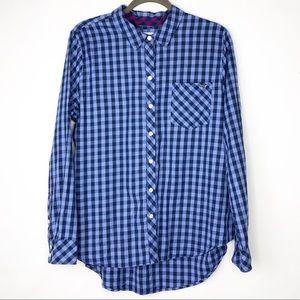 VINEYARD VINES Blue Plaid Long Sleeve Top Size 16